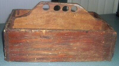 Primitive Old Wood Tool Caddy Box Finger Holes Handle Rustic Farm Country