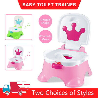 UK 3 in 1 Baby Toilet Trainer Child toddler Kid Music Potty Urinal Training Seat