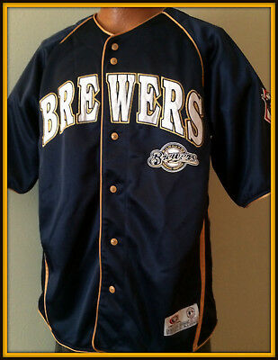 Milwaukee Brewers Dynasty Stitched True Fan Series Jersey Youth Medium Free Ship