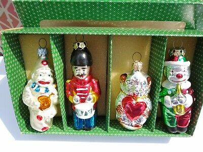 4 Ornaments Antique Glass Blown Painted Figures German Christmas Tree Glass Xmas