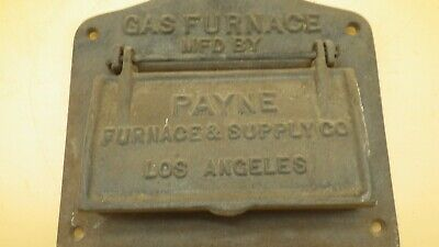 Antique 1920's CAST IRON Payne Gas Furnace Cover Door Los Angeles California