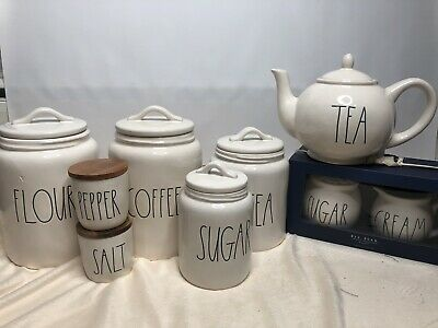 New Rae Dunn Coffee Flour Sugar Cream Tea  Teapot Salt And Pepper Canister Set 9