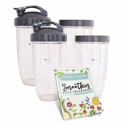 FOUR (4) Cups for NUTRIBULLET 32 oz. Tall with Flip Top & Lip Ring + EXCLUSIVE..