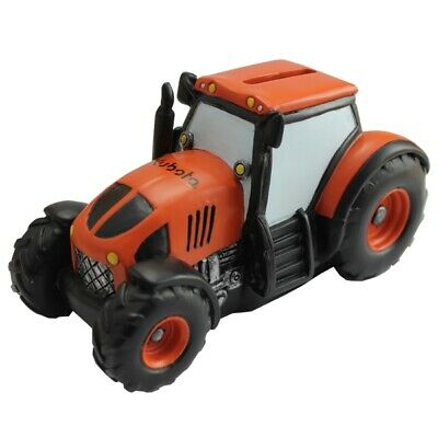 Kubota Branded Kids Tractor Money Box with Rubber Plug