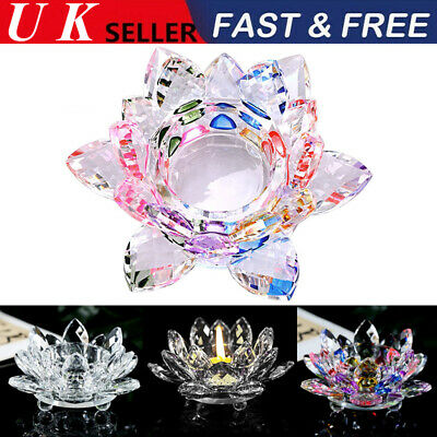 Colorful Crystal Glass Lotus Flower Candle Tea Light Holder Candlestick Decor UK
