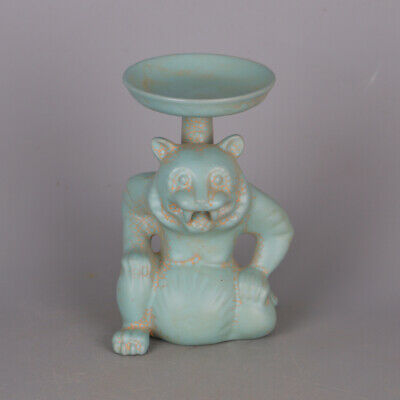 Chinese ancient antique hand make cyan glaze Oil lamp Porcelain decoration a999