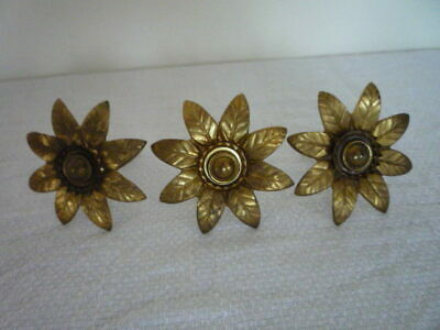 *** 3 Antique French Large Gilt Picture Complete Hook Nail & Covers Cache Clous
