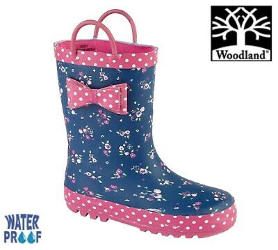 GIRLS BOW WELLINGTON BOOTS Navy Pink Flower Welly Size 4 5 6 7 8 9 10 11 12 13 1