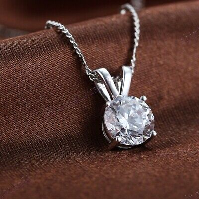 925 Sterling Silver Wedding Solitaire Anniversary Cubic Zirconia Classic Pendant