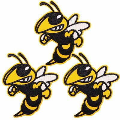 """E21 Angey BEE Wasp Yellow Jacket 3-1//2/"""" Embroidery Iron-on Patch"""