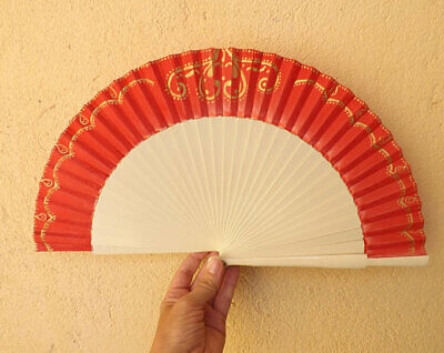 STANDARD Embroidered Look Red White Wood Hand Painted Hand Fan Spanish Fan