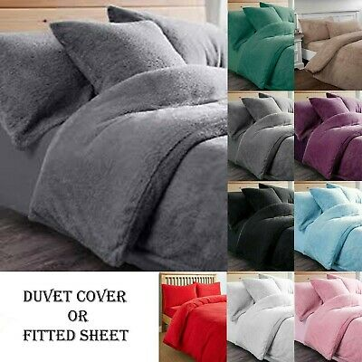 "Fleece TEDDY BEAR Quilt Duvet Cover Pillowcase OR 16"" Deep Fitted Sheet All Size"