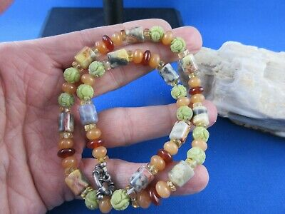 Shou Chinese hand carved natural precious stones necklace, unique.
