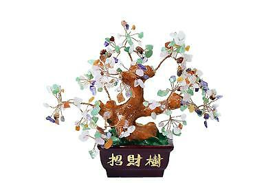 Chinese Feng Shui Bonsai Multi Color Natural Crystal Gem Stone Money Tree 7""