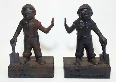 """Set of Old Antique MIDWEST FOUNDRY """"Sandy"""" Cast Iron BOOKENDS Advertising"""
