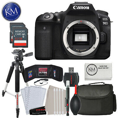 Canon EOS 90D DSLR Camera (Body Only) with 32GB & Essential Striker Bundle