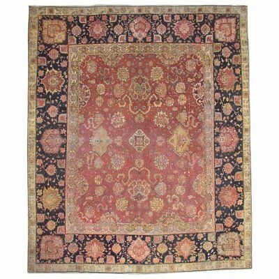 Antique 10X12 Agra Circa 1880 Oriental Hand-Knotted Wool Area Rug (9.8 x 11.6)