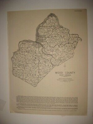 Antique 1933 Wyoming Wood County Parkersburg West Virginia Map Railroad Rare Nr