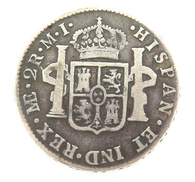 1783 Spanish Spain 2 Reales Colonial Silver Coin.