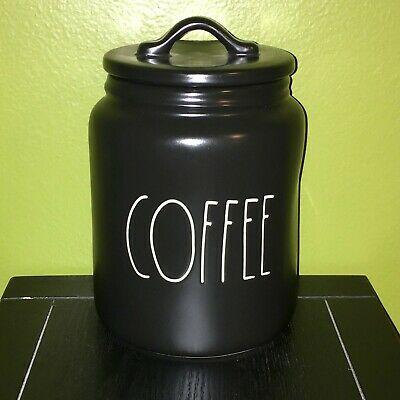"""New RAE DUNN Artisan Collection LL """"COFFEE"""" 8"""" Black Canister By Magenta"""