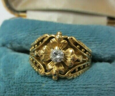 Vintage 14KT Solid Yellow Gold 0.10-.15ct Diamond Ring NICE SETTING (Size 5.5)