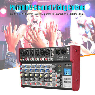 8-Channel Digtal Mic Line Audio Sound Mixer Mixing Console 2Bands Equalizer B8T4