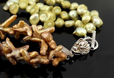 Vtg Sterling Silver Paul & Co Branch Coral & Green Pearl Dragon Necklace