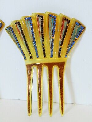 3 Antique Hair Combs Painted & Rhinestone Decorations
