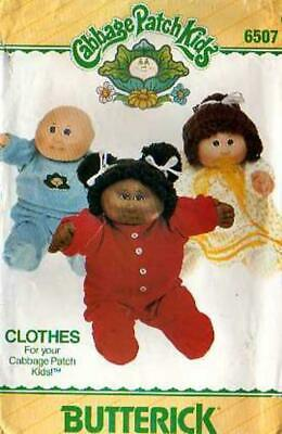 1984 BUTTERICK Cabbage Patch Kids Doll Clothes Pattern 6507 ~ Pajamas Nightgown+