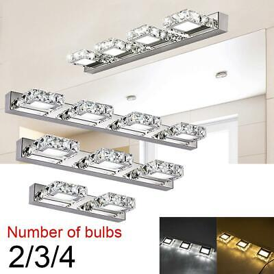 Modern Bathroom LED Vanity Light Crystal Front Mirror Toilet Wall Lamp Fixture