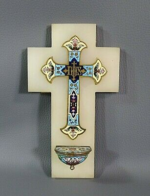 19c. Antique French Brass Cloisonne Enamel Wall Cross Holy Water Font on Onyx