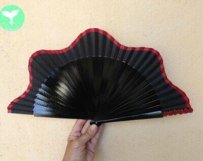 STANDARD Black Red Paper Roses Wood Hand Painted Hand Fan Spanish Fan