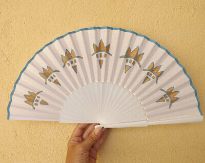 STANDARD White with Bronze Blue Design Wood Hand Painted Hand Fan Spanish Fan