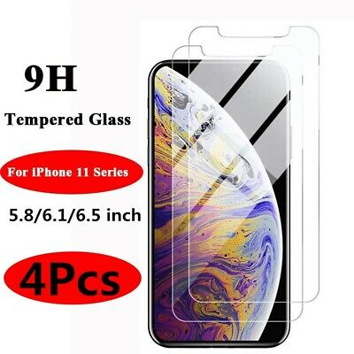 4X For iPhone 11 Pro X XR XS Max 8 7 6S 6 Plus 5 Tempered Glass Screen Protector