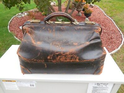Antique 1875 Genuine Cowhide Leather Doctor's Bag / Satchel / Prompt Shipping