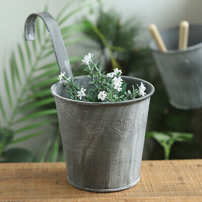 Flower Pot Hanging Basket Balcony Garden Plant Metal Hook Iron Planter Bucket AU