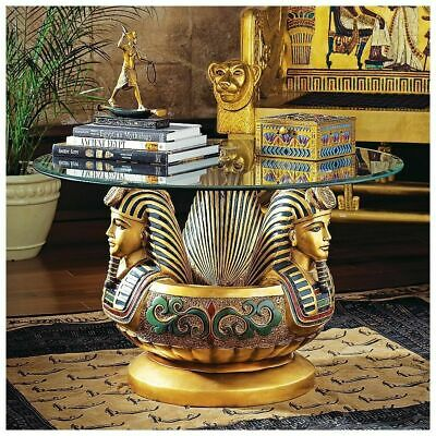 """31"""" Glass-Topped Ancient Egyptian Boy King Tut Faux Gold Leaf Sculptural Table"""
