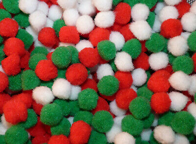 25/50/100 RED/ WHITE/GREEN POMPOMS EMBELLISHMENTS 10mm # CHRISTMAS CRAFT