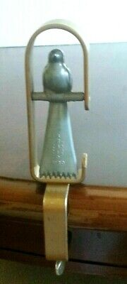 Fern Carter Vintage Swinging Bird on perch Table Clamp, tool - Rug Braiding RARE