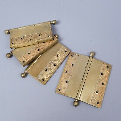 "Antique Set 4 Corbin Harvard 5"" Large Brass Victorian Hinges Door Hardware"