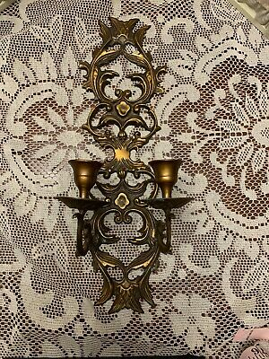 "Vintage Ornate Wall Sconce Candle Holders Gold Brass Metal Antique vtg 14"" ART"