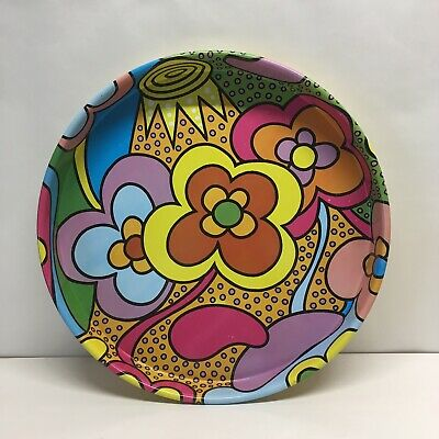 Vintage 1960s Peter Max Style Metal Tray Hippy Psychedelic Graphics