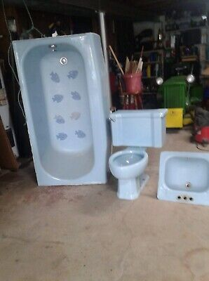 Antique Bathroom Toilet Bathtub Sink Set Blue 1950's-1960's Cast Iron Vintage