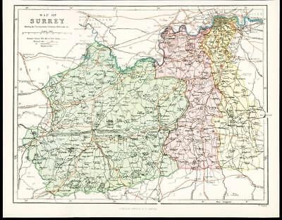 c1880 Original Antique Map of SURREY Railway Railroads by Virtue & Co
