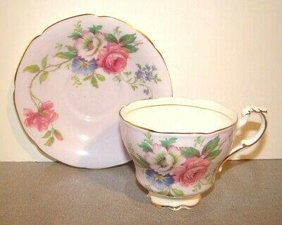 Paragon China Rose & Floral Bouquet On Lilac Purple Cup & Saucer