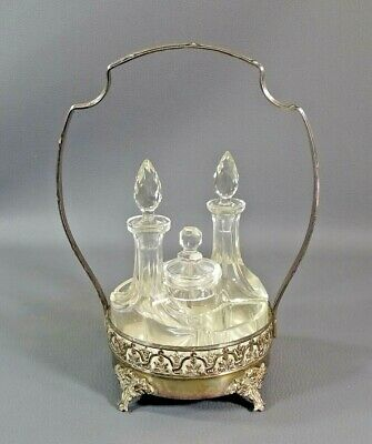 19c.Victorian French Crystal Glass Condiment Cruet Set Bottle Silverplate Holder