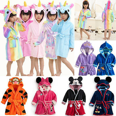 Kids Girls Boys Unicorn Bathrobe Sleepwear Pyjama Fleece Dressing Gwon Nightwear
