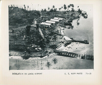 WWII 1942-3 Guadalcanal Campaign US Navy Photo desolation on Lunga Airport