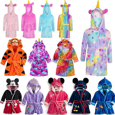 Girls Boys Fleece Unicorn Bathrobe Dressing Gown Pyjamas Sleepwear Winter Warm