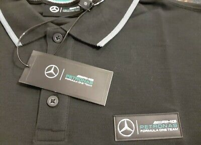F1 Mercedes Petronas AMG Black Polo Shirt Brand New